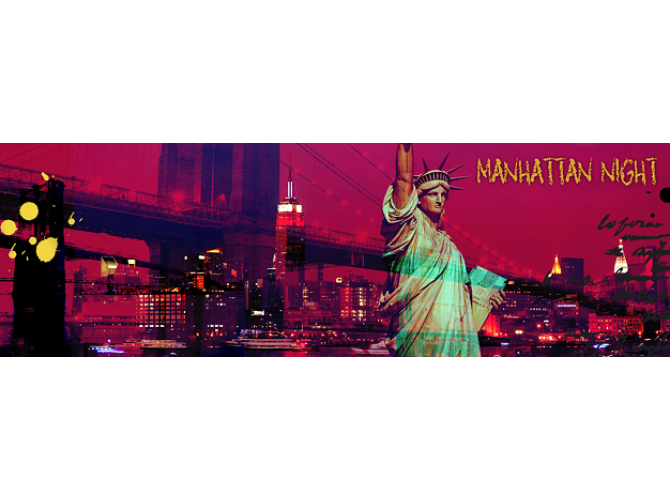 Manhattan Night, Crimson sky  the artwork factory