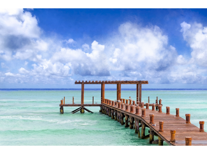 Beautiful Caribbean Sea Pier - Playa Del Carmen the artwork factory
