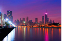 Chicago Skyline as Night Falls