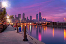 City Dreams-Chicago Skyline as Night Falls