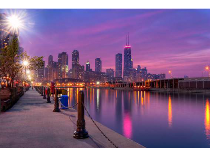 City Dreams - Chicago Skyline as Night Falls the artwork factory