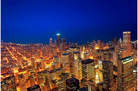 Golden Valleys - Chicago Aerial View at Dusk