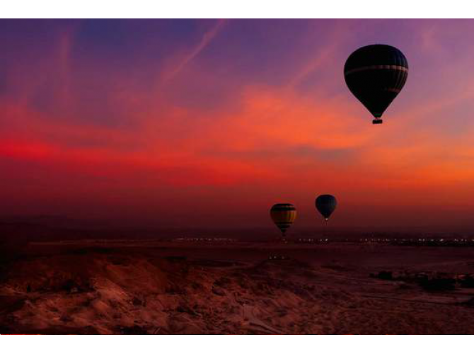 Hot Air Balloon Over Egyptian Valley of The Kings at *Sunset the artwork factory