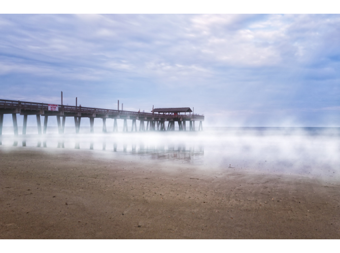 Misty Waters Around Tybee Island Pier the artwork factory