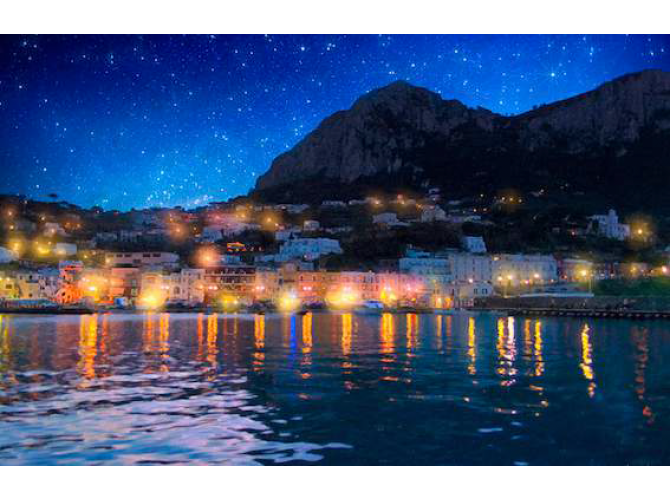Night Falls on Beautiful Capri-Italy the artwork factory