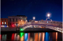 The Ha'penny Bridge on a Winter Night in Dublin