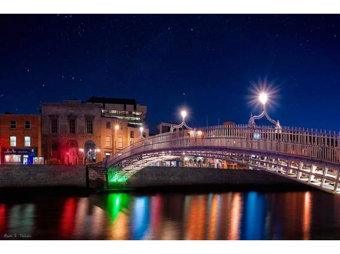 The Ha'penny Bridge on a Winter Night in Dublin the artwork factory