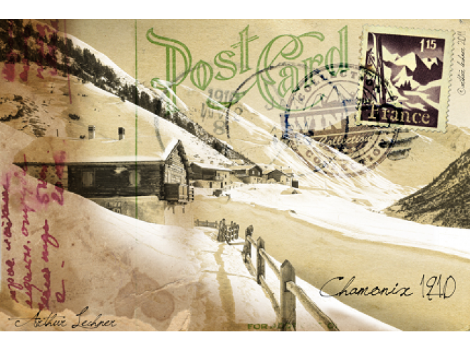 Vintage Winter Post Card the artwork factory
